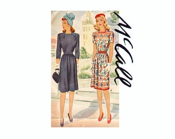 40s Vintage Sewing Pattern Dress Size 12 Bust 30 McCall 5121 Dress with square neckline and shoulder yokes 1940s WWII Fashion wartime styles