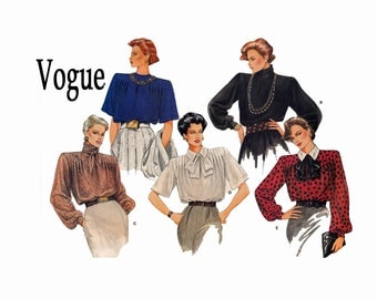 Vogue's Basic Design 1581 Blouse Size 10 or Size 14 UNCUT Vogue sewing Pattern 1985 bow tie tucks standing collar