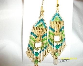 Gold N Teal N Green Earrings With 3 Cystals