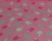 Soft Pink/White Sheep Cotton Flannel