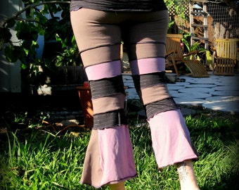 Pink PiXiE Capri's. Pink, taupe and black with hints of silver sparkle. Up-cycled.