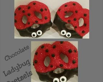 12 large ladybug chocolate pretzels shower favor ladybug party favor