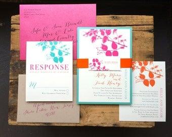 "Destination Wedding Invitations, Pink, Orange, Aqua, Taupe - ""Destination Love"" Deposit"