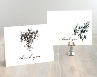 "Folded Wedding Thank You Cards, Bridal Shower, Personalized - ""All Black"""