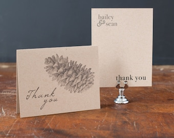 """Pine Cone Rustic Wedding Thank You Cards, Natural Wedding, Mountain Wedding - """"Rustic Charm"""""""