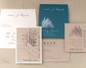 """Enchanted Woodland Wedding Invitations, Taupe, Ivory, Teal, Customizable Colors,  - """"Rustic Fern"""" Deposit"""