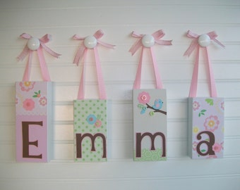 Name Block - Baby Name Blocks- Letters - TaLL Letter Blocks - Personalized Blocks - Bananafish Love Bird