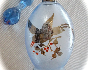 Vintage Perfume Bottle Czecho Slovakia handblown textured blue glass silver bird overlay, potion, fragrance, scent 1950s