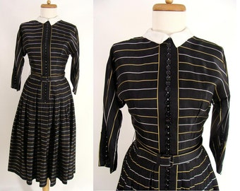 REDUCED was 98.88 vintage 40s 50s Black Acetate Full Skirt Party Dress with Gold & Silver Stripes and Lots of Decorative Buttons size 2 XS