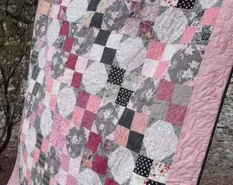 Pink, Gray, and Black Snowball and Four Patch Twin Quilt