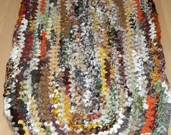 Earth Colored Oval Crocheted Rag Rug