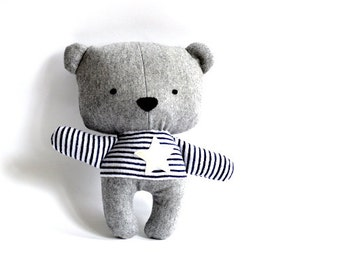 Teddy bear softie stuffed animal stuffed bear rag doll bear soft toy plushie softie handmade toy grey white star 25 cm 9.8""