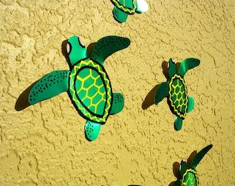 Baby Sea Turtle Art Mural Metal Wall Art Sculpture Outdoor Decor