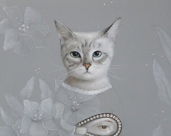 cat portrait, lover eye PRINT Art Acrylic Painting Animal Painting Wall Decor Wall hanging Wall Art gift for woman for her