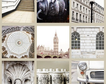 """London Gallery Art Print Set, London Photography, London Collection - """"London in White"""""""
