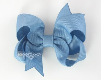 French Blue Hair bow 3 Inch Boutique Hair Bow - Baby Toddler Girl - Solid Color Hair Clip - Gray French Blue