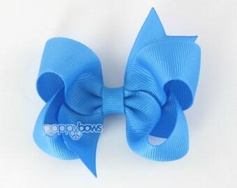 Island Blue Hair Bow - girls hair bows - toddler hair bows - baby hair bows - little girl hairbows - 3 inch bows - girls hair clip barrette
