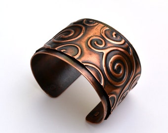Copper Cuff Embossed Swirls Bracelet
