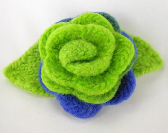 Felted Wool Rose Flower brooch in vabraint shades Bright Green and Royal Blue