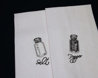 Set of 2, Cotton Kitchen Tea Towels, Salt & Pepper