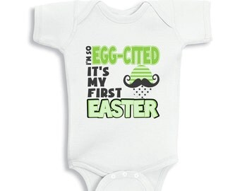 I am so egg-cited It is my first Easter baby Boy bodysuit