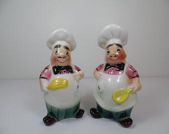 Vintage Chef Salt & Pepper Shaker Set - Vintage Chef Salt Pepper Shakers - Salt Pepper Shakers - Chef Salt Pepper - Vintage Chef Shakers