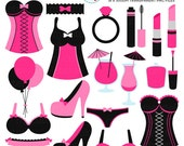 Bachelorette Clipart Set - party, bachelorette, hen night, clip art, corset, wedding - personal use, small commercial use, instant download