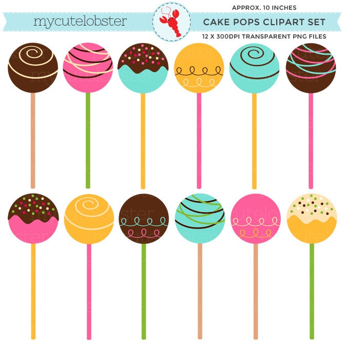 Cake Pop Clipart Free : Cake Pops Clipart Set clip art set of cake cake balls cake