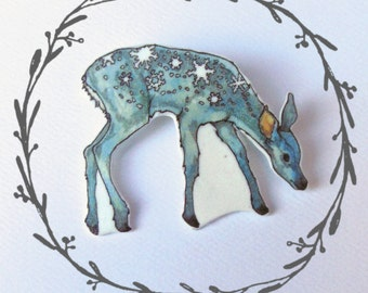 Snow Deer Brooch