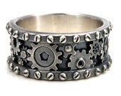 Distressed Silver Gear Ring - Steampunk Industrial Cogs and Rivets
