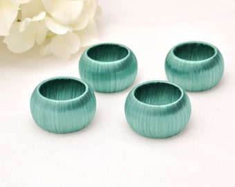 Teal Napkin Rings, Beach Wedding Decor, Set of Four Serviette Holders