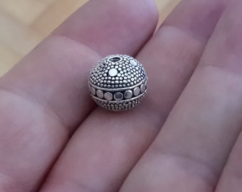 1 Solid Sterling Silver 925 Dotted Bali Focal Spacer Bead (12 mm)