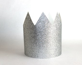 Silver Paper Crowns - Set of 6 - Birthday Party Hat - Silver Crown, Prince Charming, Twinkle Little Star, Silver Party, Sophia the First