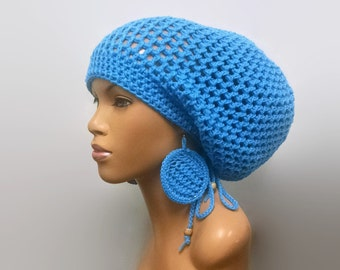 MADE TO ORDER Hot Blue / Sky Blue Crochet Slouch hat/Slouchy Beanie/Dreadlock hat with drawstring/ free crochet earrings Adjustable
