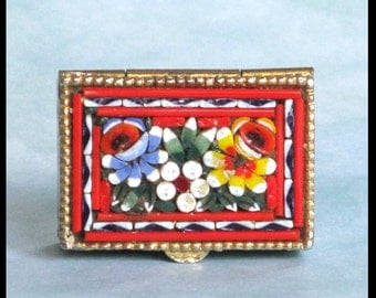 Micro Mosaic Pill Box / Made in Italy / Gold Tone Metal / Floral Flowers Etched Scrolls / Vintage 1960s Collectible