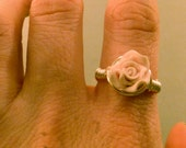 Polymer Clay Ring: Polymer Clay Pink Rose Wire Wrapped Ring, Tarnish Resistant, Valentines Day, Rose Ring, Pink Rose