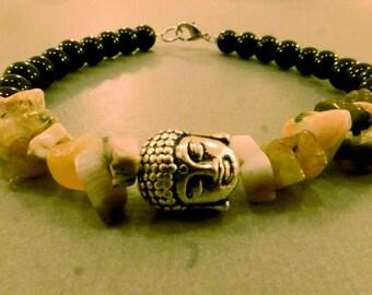 Buddha Bracelet: Buddha Charm Bracelet with Agate Chips, Yoga, Zen Relaxation, Friendship, Charm