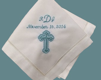 Baptism Gift Boy Personalized Hankie Christening Gift Embroidered Handkerchief
