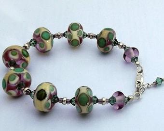 50% OFF Handmade Lampwork, Swarovski Crystal and Sterling Silver Bracelet