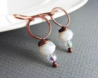 Wire Wrapped Earrings Copper Jewelry White Earrings Wire Wrapped Jewelry Copper Earrings Hoop Earrings Bride Earrings Bridesmaid Gift
