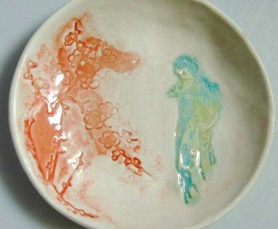 Ring Dish, aqua turquoise coral dish, Japanese Geisha girl, ceramic bowl, spoon rest, Small bowl, jewelry organizer, soap dish, ring bowl,
