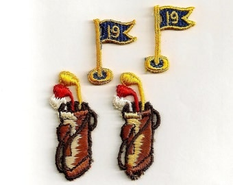 Finish a Round at the 19th Hole: Embroidered Sew-On Applique Set - Vintage New Old Stock Appliques