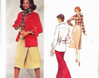 Vogue 1366 Vintage Calvin Klein Four Piece Wardrobe: Wrap Skirt, Jacket, Pants and Shirt Size 10 Uncut Pattern