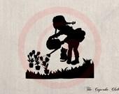 Clip Art Design Transfer Digital File Vintage Download DIY Scrapbook Shabby Chic Pillow Burlap country flower Girl Silhouette Art No. 0741