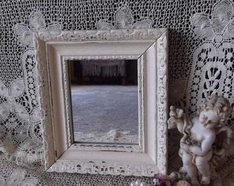 Shabby Cottage wood mirror, small mirror, creamy white
