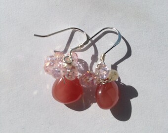 Made to Order, Rhodochrosite Pink Rose Quartz, Silver Earrings, Etsy jewelry, Lilyb444