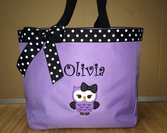 Personalized Girl Owl Bow Tote Bag Baby Diaper Bag