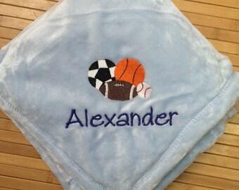 Personalized Sports Baby Blanket Soccer Football Baseball Basketball
