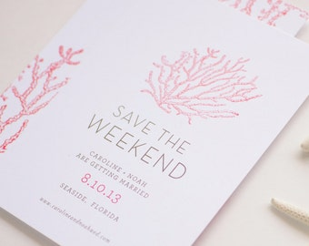 Seaside Coral Save the Date Card - Chic Beach Save the Dates - Destination Non Photo Save the Date Cards