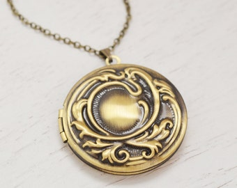 round locket, picture locket jewelry, bridesmaid gift, friendship locket, graduation gift, nostalgic, swirl locket, moon locket, keepsake
